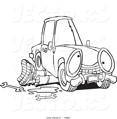 mechanic clipart black and white vector of a mechanic working a car
