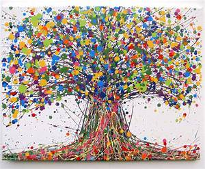 LARGE ABSTRACT NEW OAK TREE PAINTING ON LANDSCAPE CANVAS ...