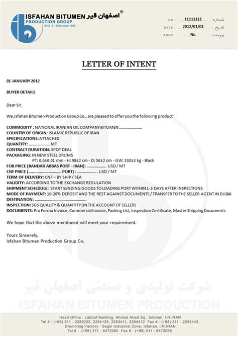 letter  intentcontracts terms documents