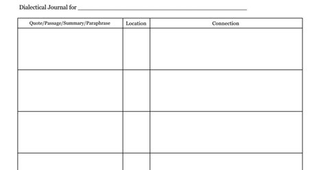dialectical journal template dialectical journal template templates collections