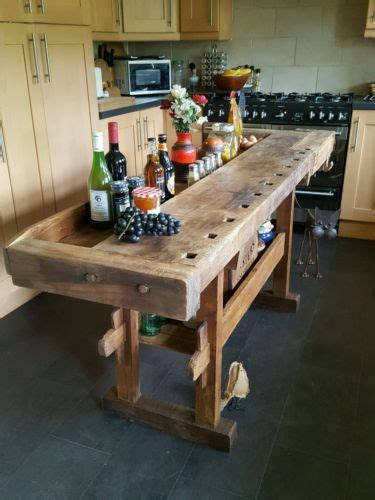 antique workbench kitchen island drinks bar industrial