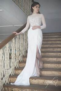 Long wedding dress white and nude wedding dress crepe and for Nude wedding dress
