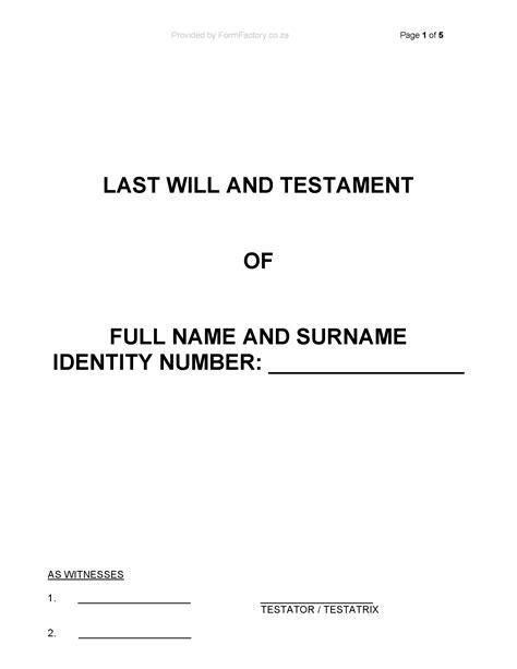 testament template formfactory