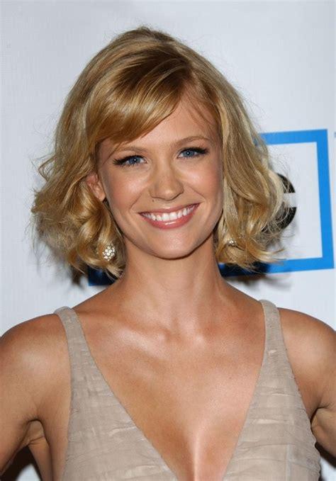rose gold blonde medium bob  fringe january jones hairstyles hairstyles weekly