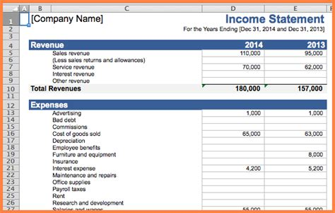 business expense  income spreadsheet excel