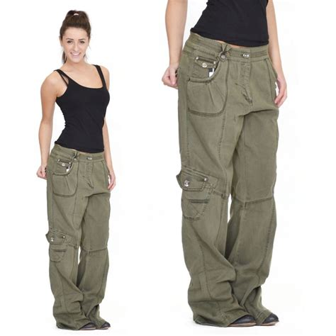 Womens Army Green Baggy Loose Cargo Pants Wide Boyfriend Combat Trousers Jeans   Cargo pants ...