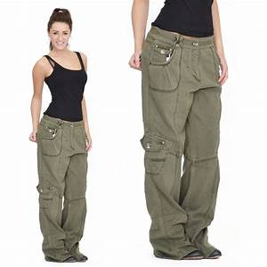 Womens Army Green Baggy Loose Cargo Pants Wide Boyfriend Combat Trousers Jeans | Pinterest ...