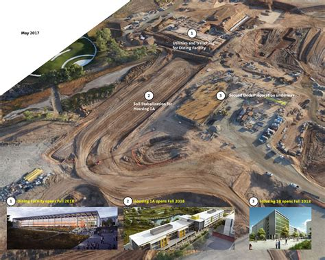 aerial drone tracks progress construction site merced