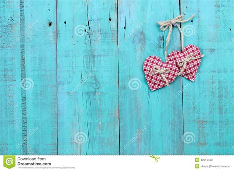 plaid country hearts hanging  antique teal blue wood