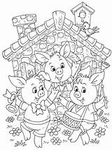 Pigs Coloring Three Pages Printable Recommended Cartoon Colors sketch template
