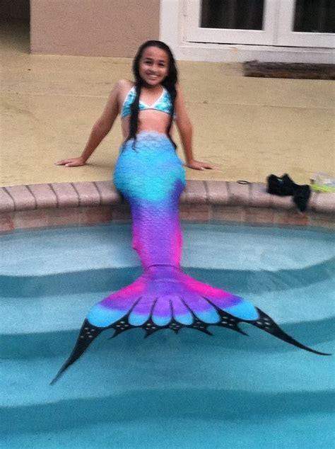 swimming   silicone mermaid tail purple rainbow tails