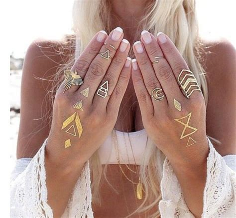 jewels chevron geometric phoenix crescent moon ring fake tattoos jewelry boho boho chic