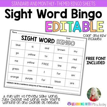 pack  sight word bingo templates