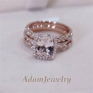 3 rings set vs 7x9mm pink morganite wedding set matching With wedding forward rings