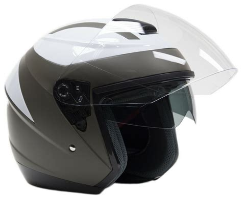 3/4 Motorcycle Helmet With Integrated Sun Shield Gray