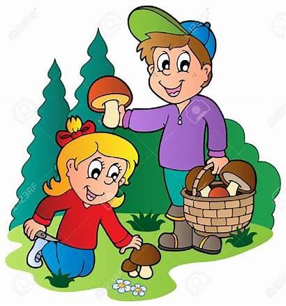 Mushrooms Picking Mushroom Clipart Vector Illustration Clip