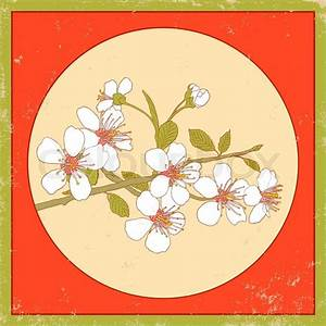 Flowers of the cherry blossoms on a vintage background
