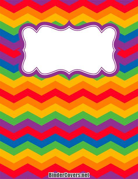printable rainbow chevron binder cover