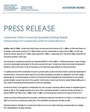press release template word excel formats