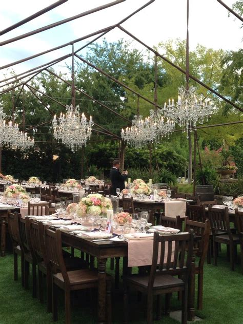 Outdoor Reception Farm Tables Blush Pink White Flowers