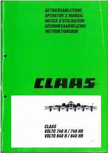 Claas Volto 640h 640hr 740h 740hr Hay Tedder Operators Manual