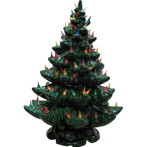 very large vintage ceramic christmas tree light up base
