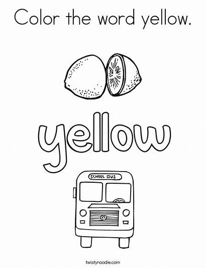 Yellow Word Coloring Pages Noodle Twisty Usa