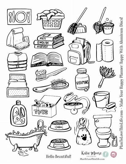 Chore Icon Icons Printable Drawn Stickers Plan