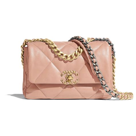 chanel  flap bag light pink goatskin gold tone silver tone ruthenium finish metal goatskin