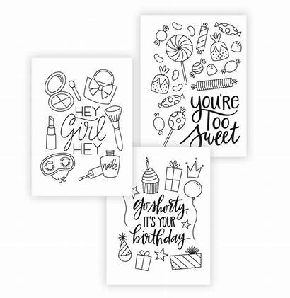 Cards Printable Coloring Greeting Adult Card Pages