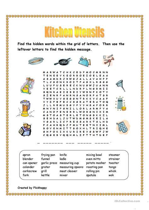 kitchen utensils wordsearch worksheet  esl printable
