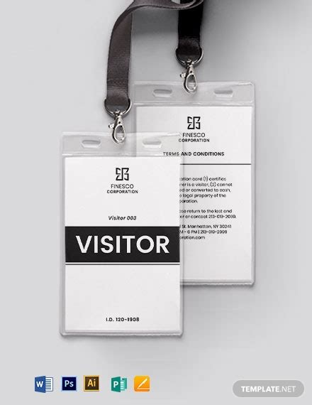 printable visitorguest id card template word psd