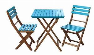 Salon De Jardin Pliant : salon de jardin pliant 2 personnes bleu et bois d 39 acacia ~ Dailycaller-alerts.com Idées de Décoration