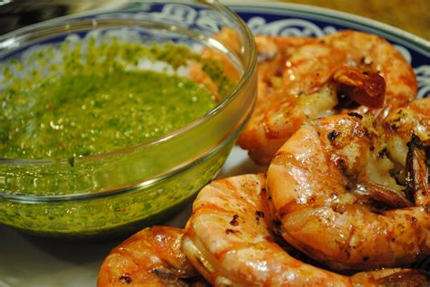 argentinean cuisine viva grilled spicy prawns with chimichurri