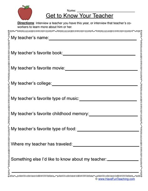 student information sheets teaching