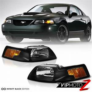 1999-2004 Ford Mustang [Factory Style] Black Amber Signal Headlights LEFT+RIGHT | eBay