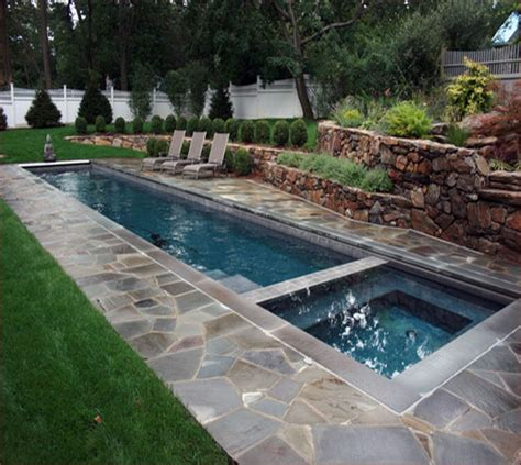 pool designs for small yards flagstone decoration for long swimming pool for small yard with comfortable chairs lestnic