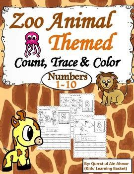zoo animal themed count trace color numbers