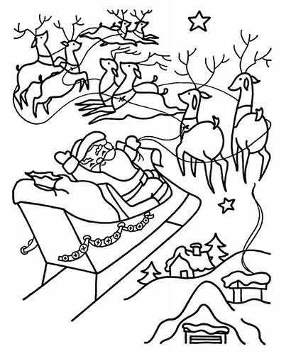 Santa Coloring Pages Christmas Sleigh Reindeer Santas