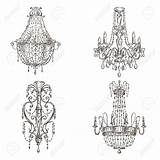 Chandelier Sketch Four Drawings Cliparts Royalty Neo Coloring sketch template