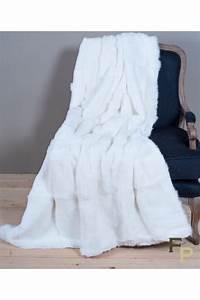 Plaid Fourrure Blanc : plaid en fourrure de lapin naturel ~ Nature-et-papiers.com Idées de Décoration