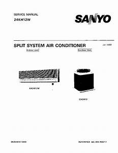 Sanyo 24kh12w Split System Air Conditioner 1989 Sm Service