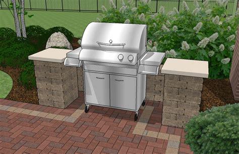 patio with grill design backyard brick patio design with 12 x 12 pergola grill station and stone fire pit plan no