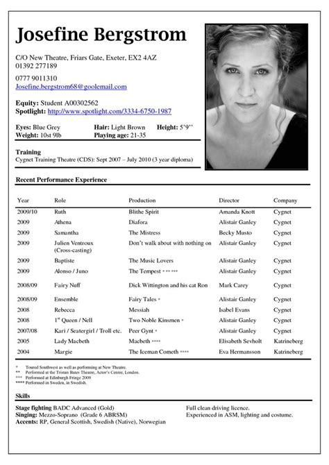 theatre resume template project scope template