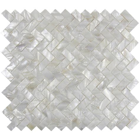 Of Pearl Subway Tile by White Herringbone Of Pearl Shell Tile For