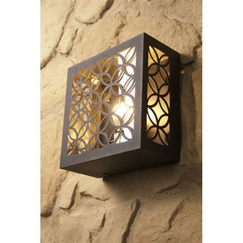 brilliant lida outdoor wall light brown rust coloured