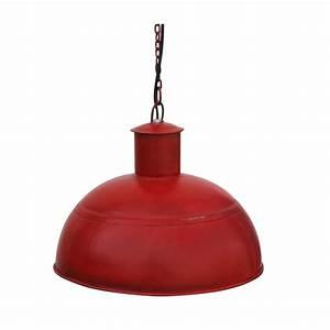 Suspension Style Industriel : lampe suspension m tal rouge style industriel avec syst me lectrique ~ Teatrodelosmanantiales.com Idées de Décoration