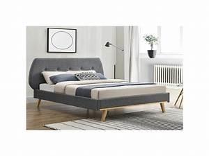Cadre Lit 140x190 : lit lulea cadre de lit scandinave gris avec pieds en ~ Dallasstarsshop.com Idées de Décoration