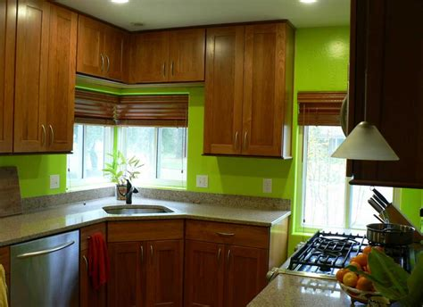Green Paint Colors For Kitchen With Natural Brown Cabinet