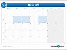 Calendário março 2019